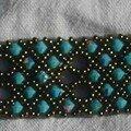 Cinq bandes turquoise , bronze à trous.
