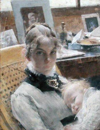 La_femme_de_l_artiste_et_sa_fille_Suzanne__1885