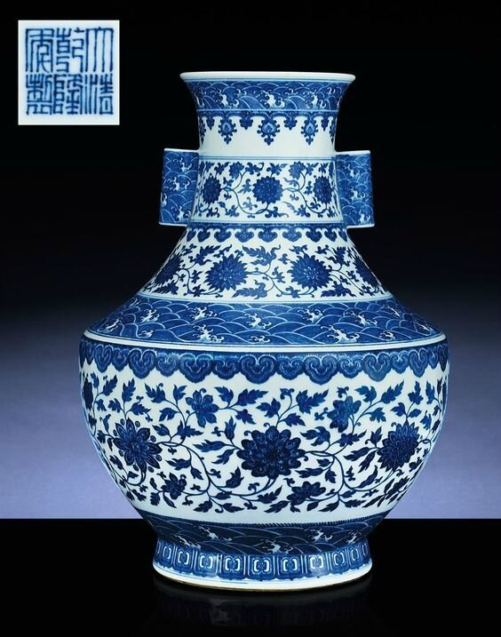 A fine large blue and white hu-form vase, Qianlong six-character sealmark and of the period (1736-1795)