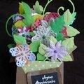 Card-in-a-box panier de fleurs - face