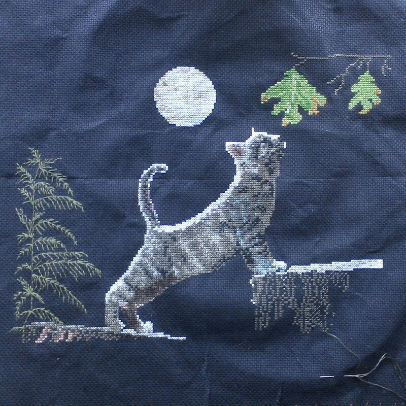 max'moon cross stitch progress