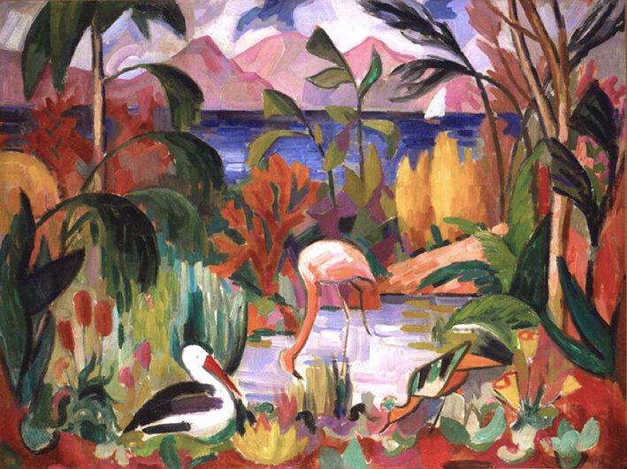 1907 - Paysage coloré aux oiseaux aquatiques