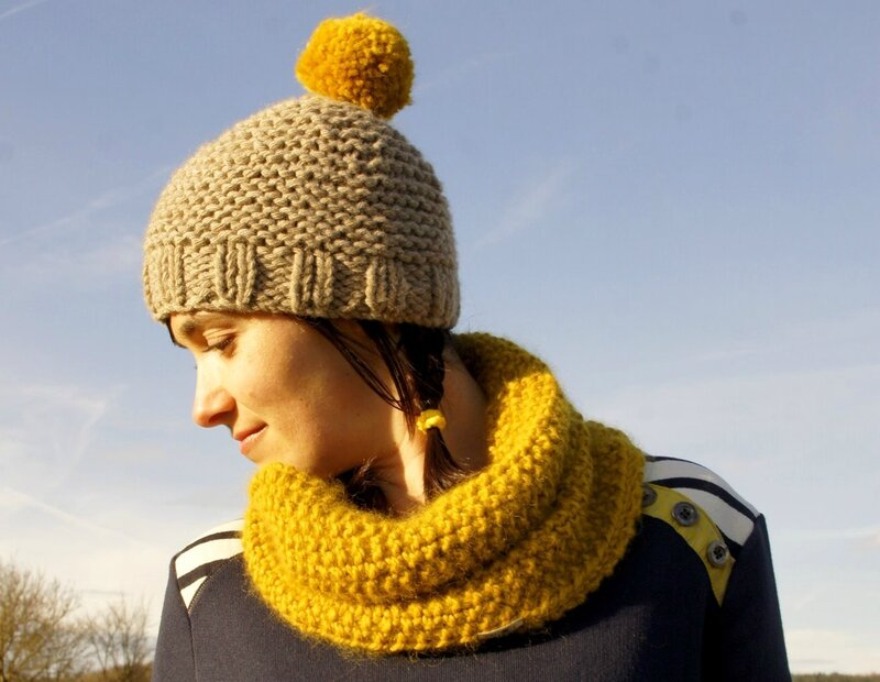 bonnet pompon moutarde 5