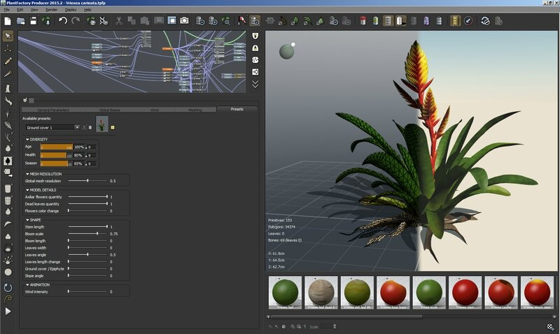 08 Vriesea carinata 3D plant model tropical flower epiphyte 3DS C4D Max FBX obj Screen