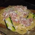 Spaghetti jambon de parme, courgette sauce au chèvre
