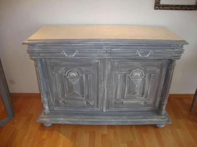 Buffet henri ii patin gris et zinc kr ative d co - Meuble ancien patine gris ...