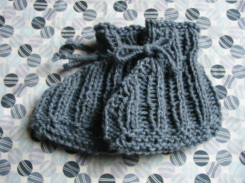 chaussons qui tiennent au pied en cachemire bleu de prusse