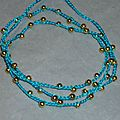 bracelet Collier doré tissé turquoise