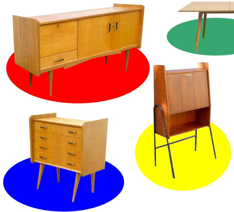 meubles vintage - commode enfilade, secrétaire, table