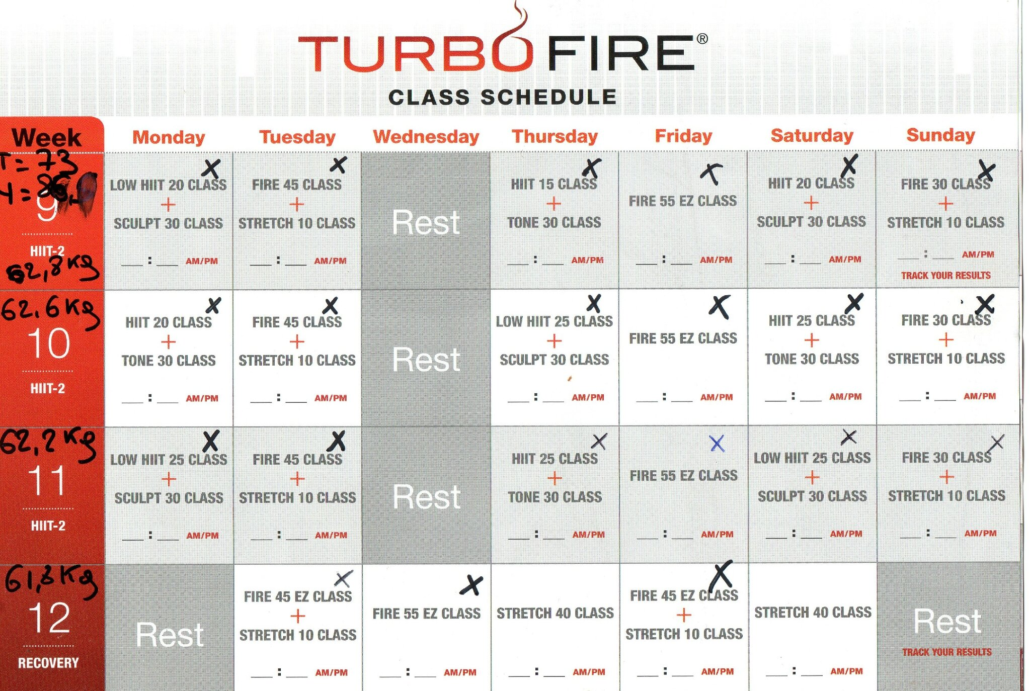 Printable Turbo Fire Schedule | Calendar Template 2016