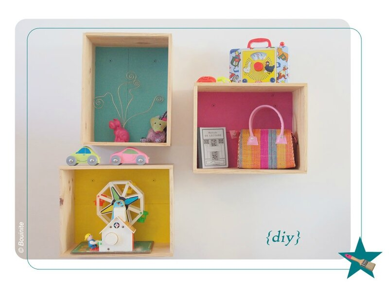 diy 1 des tag res pour les enfants avec des caisses vin bouinite. Black Bedroom Furniture Sets. Home Design Ideas
