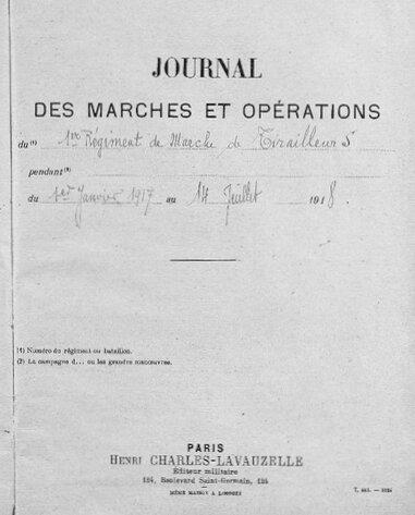 JMO 1er Rgt Marche Tirailleurs 1917-1918 intérieur