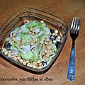 Salade de concombre, pois chiches et olives
