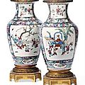 A pair of chinese ormolu mounted famille rose vases, 18th century.