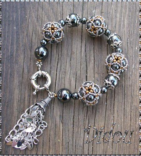 bracelet octahédral hématite, argent et bronze