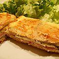Croque tablette jambon, fromage et pesto