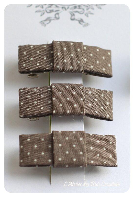 11_Barrettes_noeud_coton_chocolat_a_pois_blancs
