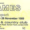 James - mardi 28 novembre 1989 - town & country club (london)