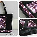 Grand sac cabas simili noir petit pan violet paillettes