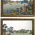 A fine pair of chinese export reverse-painted mirrors, circa 1770