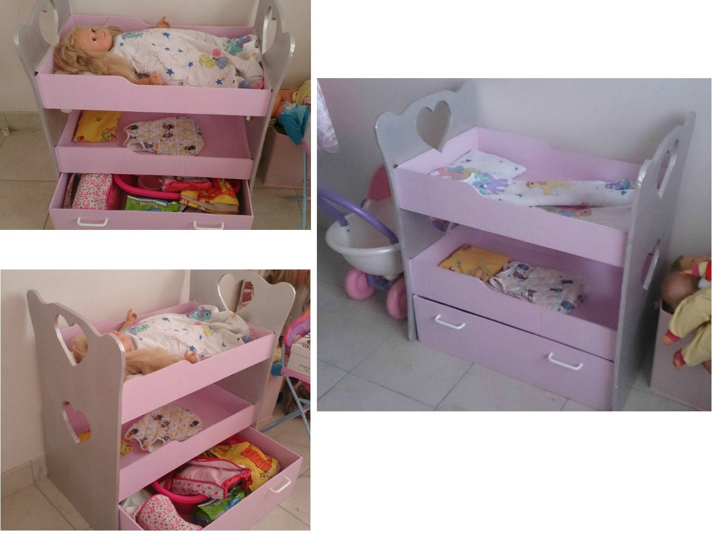 lit de poup e en carton home made by lulue. Black Bedroom Furniture Sets. Home Design Ideas