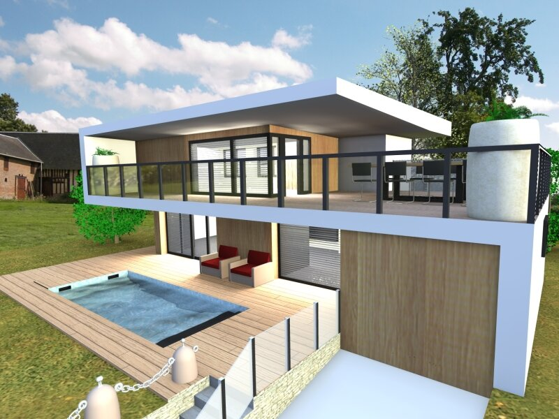 Villa contemporaine album photos plan b infographie for Modele maison sketchup