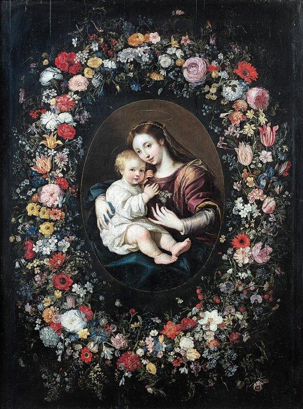 Jan Brueghel le Vieux (1568-1625) et Jan Brueghel le Jeune (1601-1678), La Vierge à l'Enfant dans une guirlande de fleurs