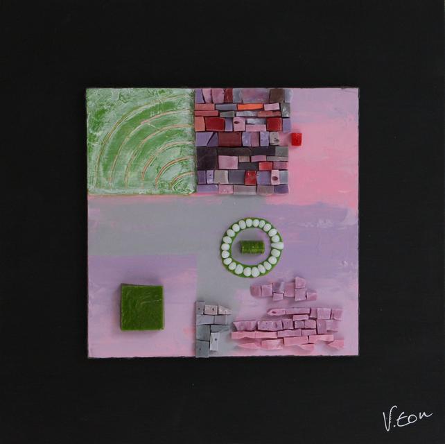 petit carré rose et vert