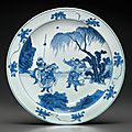 A large blue and white dish, early kangxi period, circa 1670