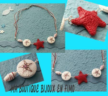 COLLIER étoile de mer rouge