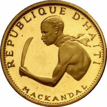 PIECE DE MONNAIE D'HAITI EN L'HONNEUR DE MAKANDALA (MACKANDAL)
