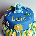 Gâteau 1er anniversaire eléphant
