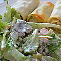 Nems aux épinards et chèvre et salade de mesclun