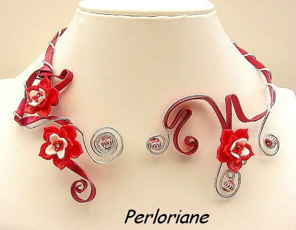 collier rouge alu plat