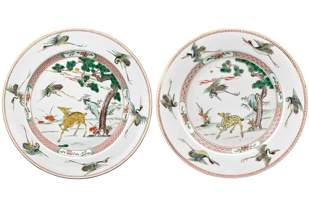 Two Chinese Famille Verte Enameled Porcelain Dishes, Kangxi Period