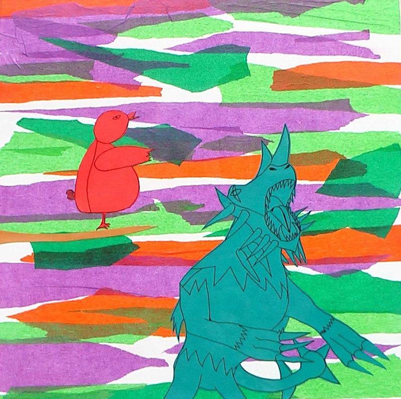 01.En ce temps-là, Grand-monstre était la bête la plus forte et les autres animaux le redoutaient. Un jour cependant, l'oiseau cardinal lui rapporta qu'il existait, dans une contrée lointaine, un être réputé si robuste et si malin qu'il demeurait invaincu.