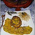 steak de veau pané à la crème coco/curry accompagné de nouilles japonaises