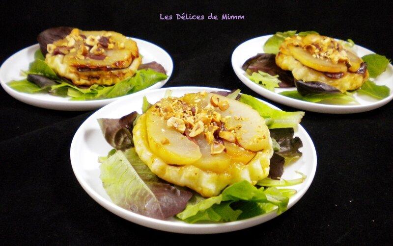 Tartelette Tatin aux poires, magret de canard et au noisettes