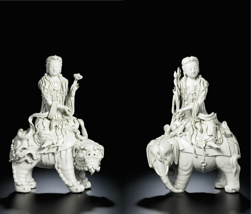 A pair of fine large Dehua 'blanc-de-chine' figures of Manjusri and Samantabhadra, by Xu Yunlin, Qing dynasty, early 20th century