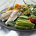 Salade de rougets, patate douce & boulghour, petite sauce à la menthe