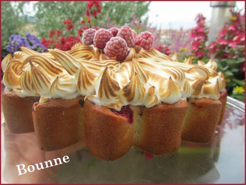 gâteau meringué aux framboises