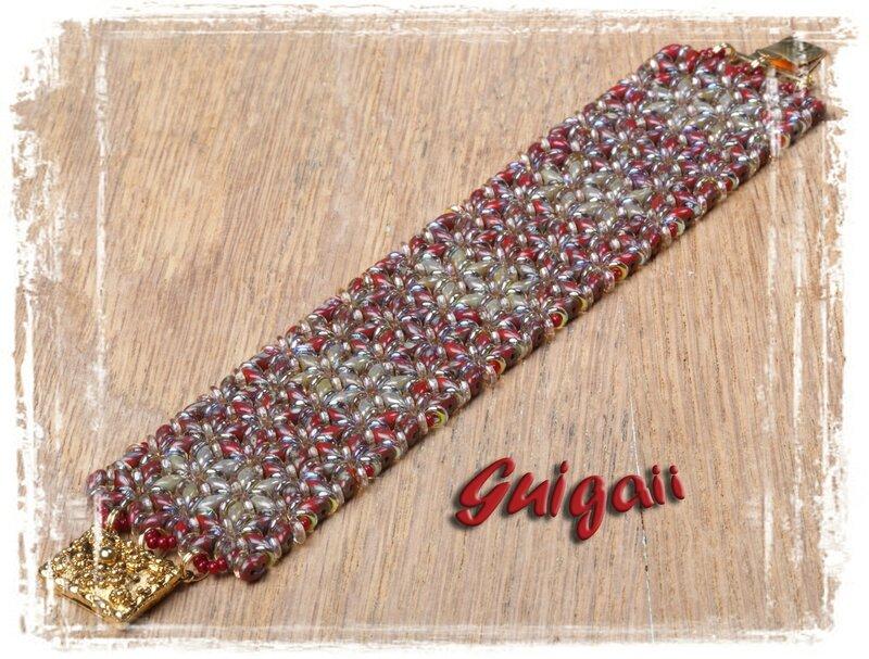 n°261 Bracelet O'Mosaïc red_grey
