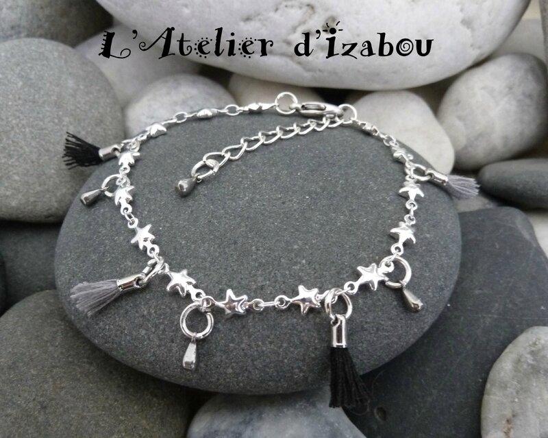 Bracelet femme chaîne étoilée, pompons noirs et gris, et bouttes d'eau