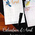Calendriers mensuels : avril 2017 (gratuit - à imprimer)
