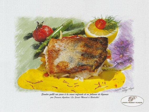Sandre grillé à la sauce safranée