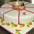 Gâteau d'anniversaire, un petit jardin fleuri...