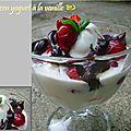 Frozen yogurt à la vanille, fruits frais et sauce au chocolat