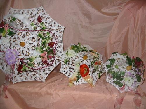 Ombrelles en dentelle fine décorée
