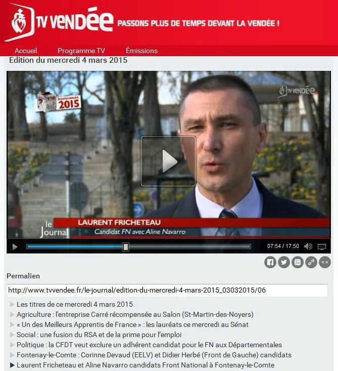 Candidats FN : Fontenay-Le-Comte, Laurent Fricheteau et Aline Navarro. ( Reportage Programme TV Vendée) Front National Vendée