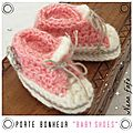 chaussons basket crochet-mini rose